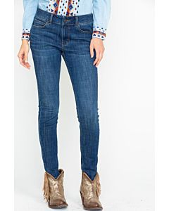 Women's Embroidered Pocket Mid Rise Skinny Jean