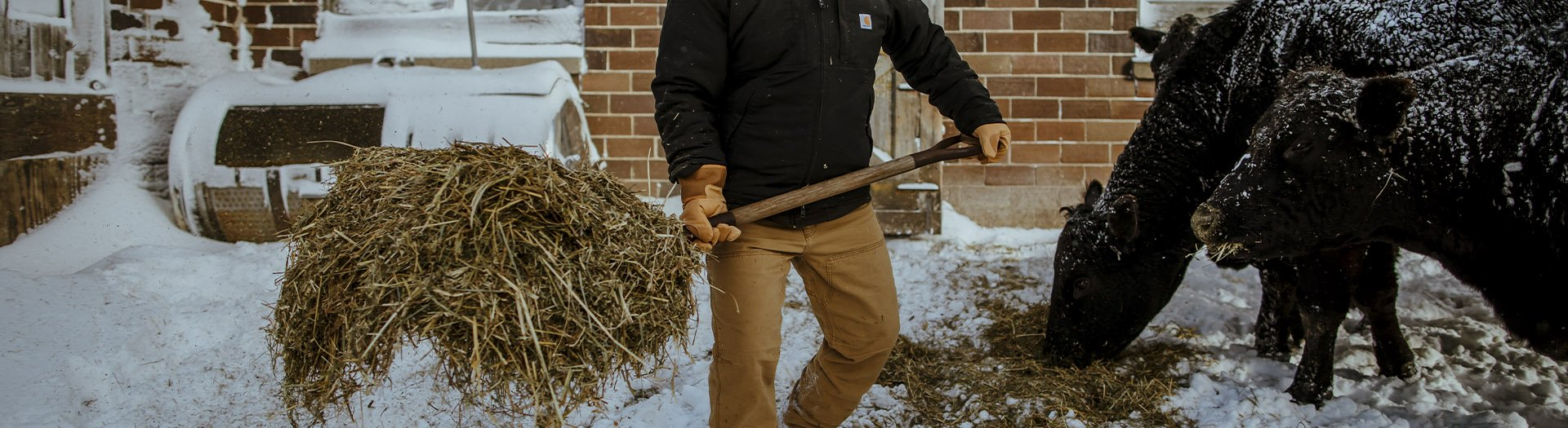 Man working on farm Carhartt hats and clothes